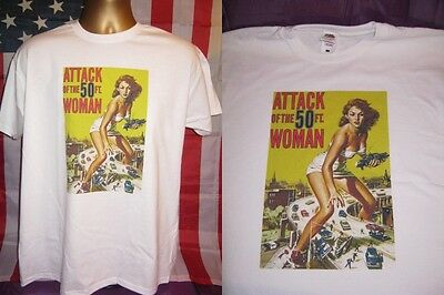 ATTACK OF THE 50ft WOMAN- CLASSIC 1958 CINEMA POSTER  PRINT T SHIRT-WHITE-LARGE