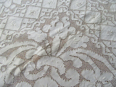 Vintage Large Filet Lace Tablecloth All Over Flowers 66 by 134