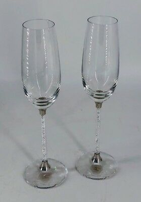 "Swarovski Crystal Filled Champagne Flutes - Pair, 10"" Tall (SPG031279)"