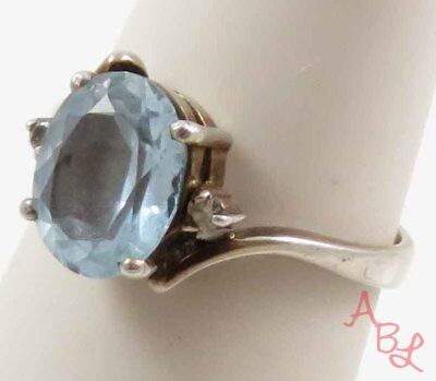 Sterling Silver 925 Cocktail Blue Topaz & Diamond Ring Sz 6.75 (2.8g) - 745824