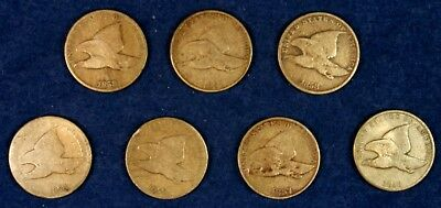 1857 & 1858 1c Flying Eagle Cents Penny - 7 Different Coins