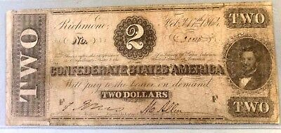 1864 $2 Two Dollar CSA Confederate Note Civil War Sharp Nice