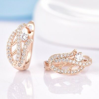 Lady Sapphire Crystal Gold Platinum Filled Hoop Earrings Quality Wedding Jewelry
