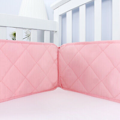 "Pink Crib Bumper for Girls Baby Gift Toddler Bedding Pad Protector 4PCs 52""x28"""