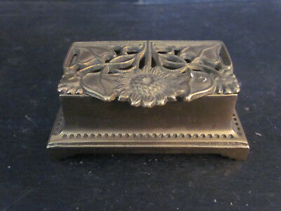 Vtg BRASS Double Stamp Dispenser Reticulated Sunflower Floral Pattern w Patina