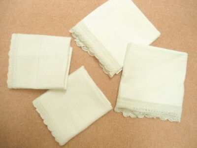 TWO Pair of White Vintage Pillowcases Standard Size with Beautiful hand-crochete