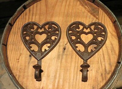 "2 BROWN ANTIQUE-STYLE CAST IRON HEART HOOKS 6.5"" TALL wall rustic decorative"