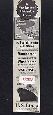 United States Lines 1940 New York/california Ss Manhattan & Washington Ad