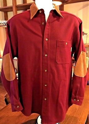 WOOLRICH wool shirt Leather Collar & Elbow patches Wine Burgundy Sz M USA #184