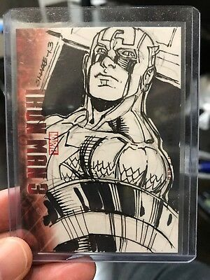 2013 UD Iron Man 3 Artist Color Sketch Card Captain America By Kevin Sharpe 1/1