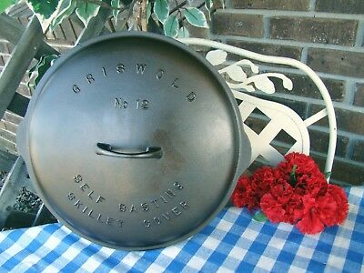 Griswold #12 Low Dome Cast Iron Raised Letter Skillet Lid or Cover – #472