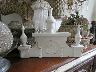 """FABULOUS Old Salvaged WHITE Wood ARCHITECTURAL Header PEDIMENT 3 Finials 10"""""""
