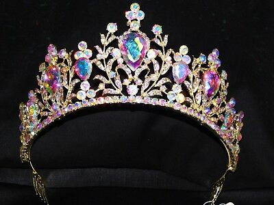 Gold AB Iridescent Rhinestone Crystal Queen Tiara Crown Bridal Pageant /1369
