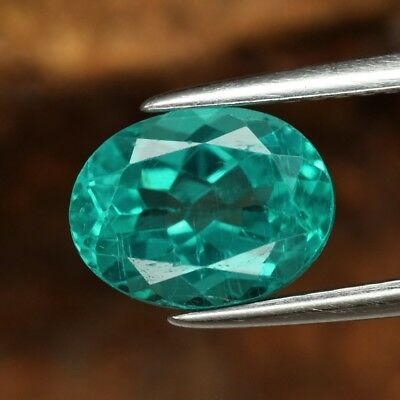 2.21ct 8.8x6.7mm Oval Natural Unheated Paraiba-Color Neon Blue Green Apatite