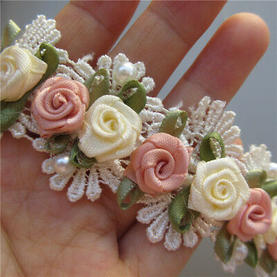 1 yd 3D Apricot Rose Flower Pearl Lace Trim Ribbon Wedding Applique Sewing Craft