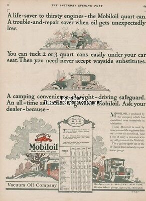 1926 Gargoyle Mobiloil Vacuum Oil Co 1920s Automotive Garage Shop Decor Art Ad