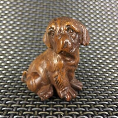 Rare Old Japanese Netsuke Boxwood Handwork Collectible Little Dog Antique Statue