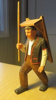 Vintage Hand Carved & Painted Wooden Figurine Statue Peasant w Rack on his Back