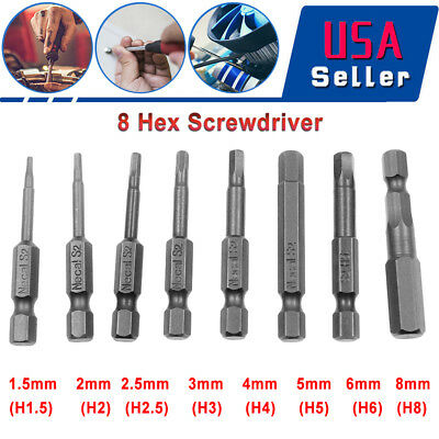 8pcs Hex Key Bit Set Quick Connect Long impact Driver Drill metric 50mm US Stock