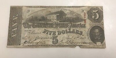1863 $5 CSA Confederate States Of America Currency Note US History