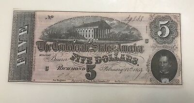 1864 $5 CSA Confederate States Of America Currency Note T69 US History