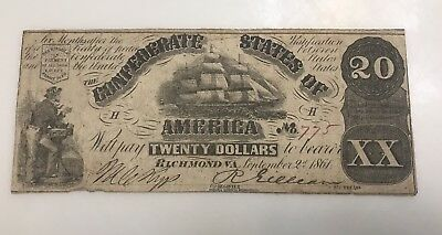 1861 $20 CSA Confederate States Of America Currency Note T18 PF-11 US History