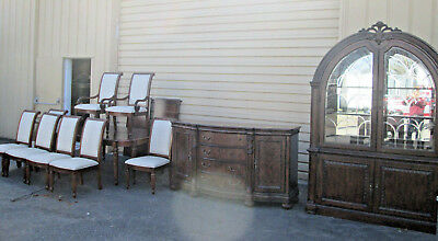 """55382 T3: RIVERS EDGE 11 pc. Dining Set China Buffet Table 8 chairs 124"""" x 51"""" T"""