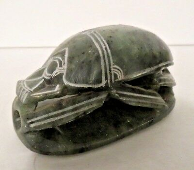 Vintage Egyptian Carved Soapstone Scarab Beetle Paperweight Hieroglyphics 4""