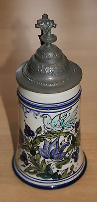 Faience Mug Hand Painted Floral Decoration with Tin Lid Approx. 0,3 Litre 20 Cm