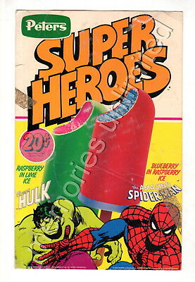 1981 Peters Ice Cream SUPER HEROES MILK BAR DISPLAY CARD