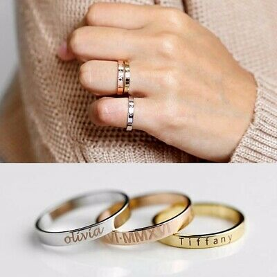 Stainless Steel Personalized Custom Engraved Name Date Ring Birthday Gift Unique