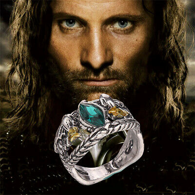 Lord of Rings LOTR Aragorn's Ring of Barahir Mens Crystal Ring Size 6-10