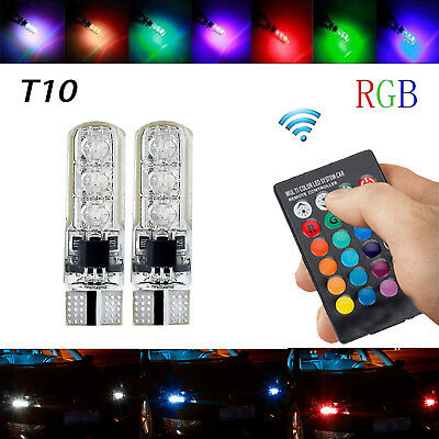 T10 5050 6 SMD W5W 501 Led Remote Control Car Bulb Multi Color Side Light Bulbs