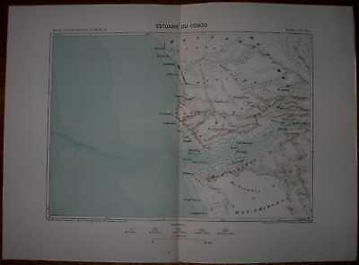 1888 Reclus map ESTUARY OF CONGO RIVER, CENTRAL AFRICA (#3)