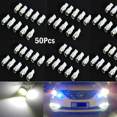 50x White T10 W5W 5630 6-SMD LED Car Wedge Side Light Bulb Lamp 168 194 192 158
