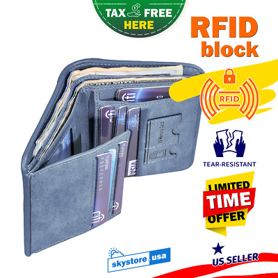 Black Leather Passport Wallet RFID Block Travel Holder ID Credit Card Cover Case