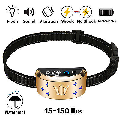 2018 NEW Pet Dog Training Anti Bark Collar Rechargeable E-Remote LCD Waterproof
