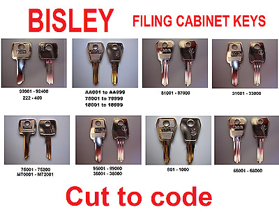 replacement Bisley filing cabinet Keys Cut to Code - all key types avaliable