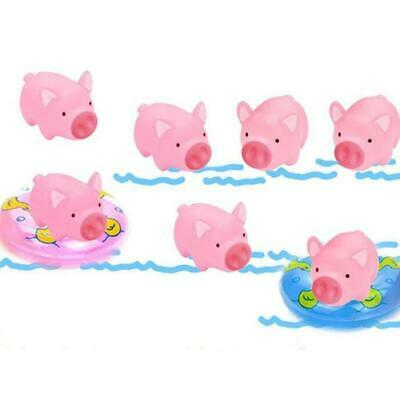Baby Bath Time Toy 10PCS Plastic Pink Pig with 2 Mini Swimming Ring Play Fun LC