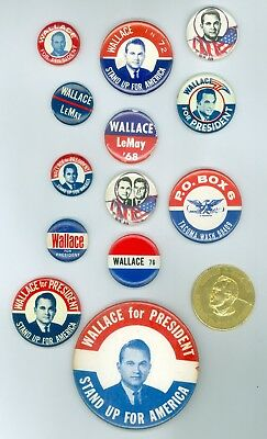 13 Vintage 68-76 Alabama Governor Wallace Political Pinback Buttons &5 Stickers