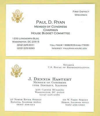 2 Vintage 2000 Speakers Of The House Official Business Cards Ryan; Hastert