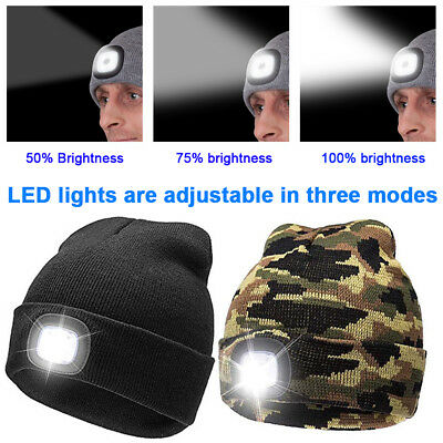 Winter Wear Unisex LED Beanie Hat Knitted Cap USB Rechargeable Head Lamp Light G
