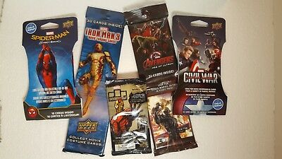 MARVEL Sealed Card PACKS  Lot of 5 AVENGERS / Civil War / SPIDER-MAN / Iron man