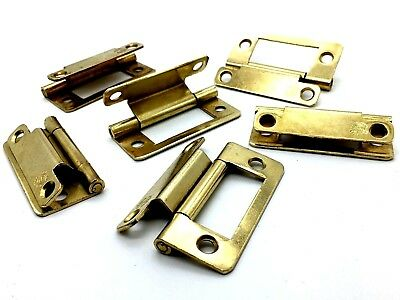 CRANKED HINGES 50mm brass plated easy hang flush hinge caravan cupboard (721)