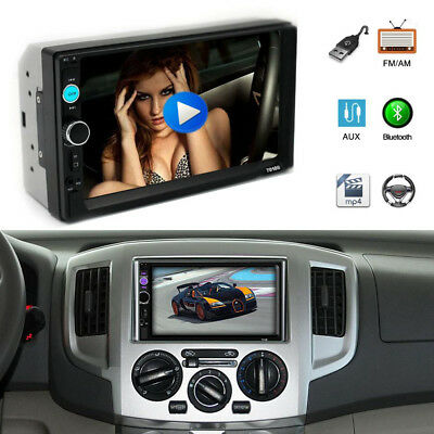 """7"""" 2 Din Touch Screen Bluetooth Car Player Stereo Radio HD MP5 Rear View 7010B"""