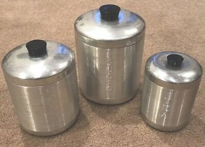 Vintage 3 Piece Spun Aluminum Canister Sugar Coffee Tea Black Knobs