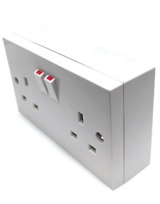 13Amp Twin Double Switched wall plug socket and 25mm Pattress Surface box