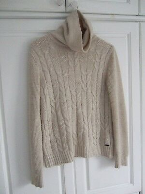 Cream  ESPRIT Cable knit jumper with Wool and Alpaca size small 8-10