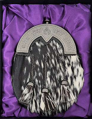Gift Boxed New Scottish Made Antique Celtic Thistle  Black White Bovine Sporran
