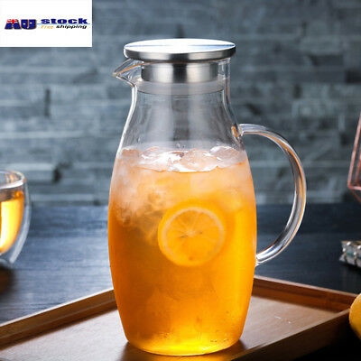 1800ML Glass Water Pitcher with Lid Glass Jar for Ice Cold Juice infuser Carafe